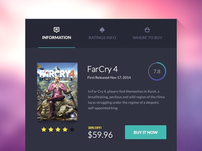 Game UI card tabs ui product rating user interface web design game card far cry ecommerce ux navigation