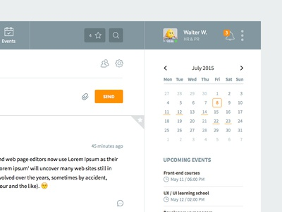 Intranet user interface menu timeline stats navigation application app dashboard interface clean ux ui
