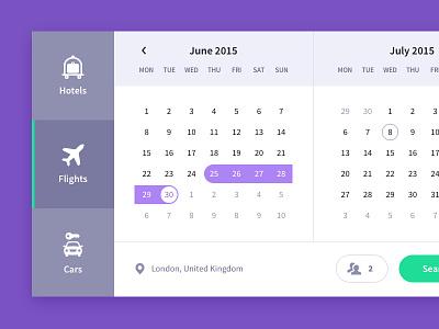 Calendar, travel UI freebie user interface card interface date freebie search ui calendar reservation travel hotel flight