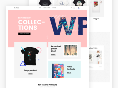 Frontpage T-shirt ecommerce user interface web product minimal design ux ui eshop store shop frontpage ecommerce