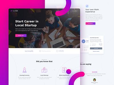 Startup landing page landing page frontpage startup ux ui dashboard clean page design illustration homepage web