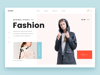 fashion layout product ecommerce header frontpage design layout minimal clean ux ui clothes fashion