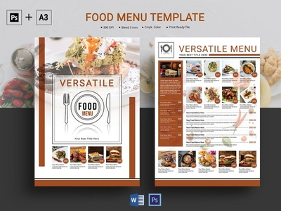 Restaurant Menu Template menu template menu flyer template cafe flyer bar flyer ms word photoshop template food promotion food menu restaurant flyer restaurant menu