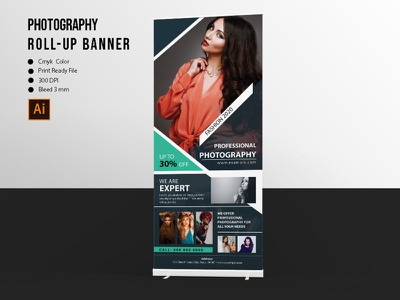 Photography Roll-Up Banner editable clean photographer rollup illustrator template business rollup presentation banner rollup rollup banner photography rollup