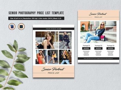 Senior Photography Price List Template