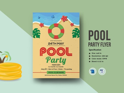 Pool Party Flyer Template ms word photoshop template clean creatvie dj music music party invitation template party invitation party flyer pool party