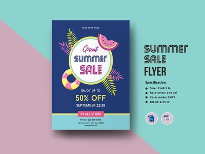 Summer Sale Flyer flyers flyer template multipurpose ms word photoshop template store business shop sale sale flyer summer sale summer sale flyer