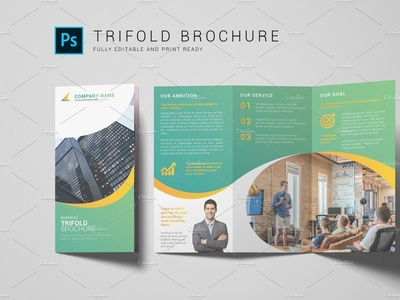 Business Trifold Brochure photoshop template clean creative multipurpose minimal company brochure corporate brochure trifold brochure business brochure business trifold brochure