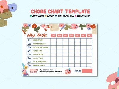 Chore Chart Template kids planner ms word photoshop template kids chore chore list routine chart behavior chart award chart monthly planner chore chart happy planner personal calendar