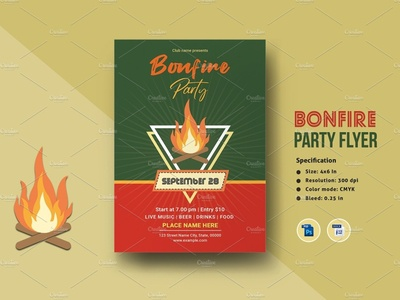 Bonfire Party Flyer Template invitation template ms word photoshop template fall harvest multipurpose bonfire invitation night party family bonfire party flyer bonfire party