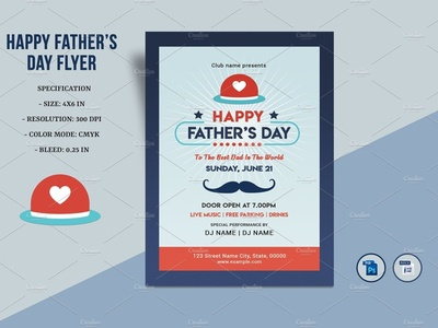 Father's Day Flyer editable flyer design ms word photoshop template fathers day 2020 happy fathers day fathers day invitation flyer party flyer fathers day flyer