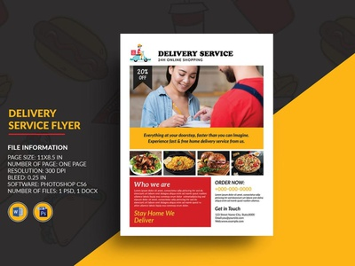 Delivery Service Flyer online shop product delivery pizza shop ms word photoshop template fast food delivery food delivery promotional banner home delivery delivery flyer delivery service