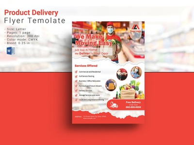 Delivery Service Flyer product delivery online shop delivery company promotional banner ms word multipurpose burger delivery home delivery fast food delivery food delivery delivery service