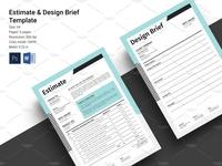 Estimate & Brief printable ms word photoshop template invoice brand stationery cash memo pitch brief estimate