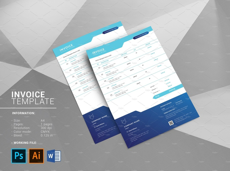 Clean Invoice business corporate illustrator template ms word photoshop template minimal invoice creative invoice minimal invoice template invoice clean invoice