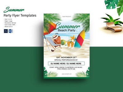 Summer Party Flyer ms word photoshop template summer summer festival beach party summer flyer party invitation party flyer summer inviation summer party summer party flyer