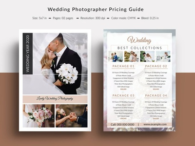Wedding Photography Pricing Guide editable psd photoshop template photography wedding photographer photography price list photography pricing guide wedding photography