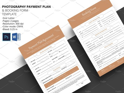 Payment Plan & Booking Form studio booking ms word photoshop template photographer client booking business contract business forms photography forms booking form payment plan