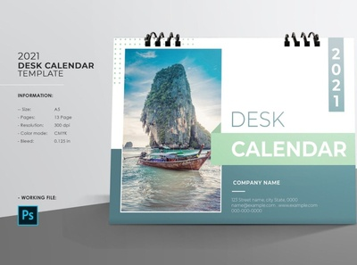 Desk Calendar Template 2021 psd photoshop template desktop calendar stationery business calendar corporate calendar desk calendar 2021 desk calendar desk calendar template