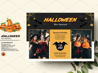 Halloween Mini Session photoshop template halloween 2020 photography board photography session marketing board halloween marketing halloween photography mini session halloween mini halloween mini session