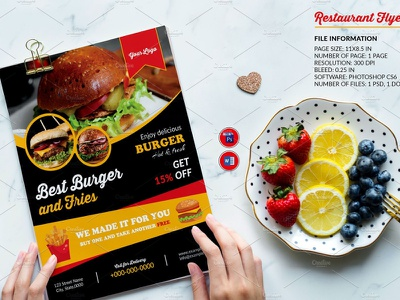Restaurant Flyer Template ms word photoshop template fast food marketing advertising flyer burger shop restaurant promotion cafe flyer bar flyer food menu menu flyer restaurant restaurant flyer