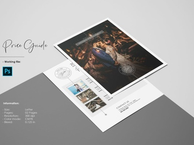 Photography Price list Template editable psd photoshop template price list wedding photography digital professional pricing guide photography price guide photography price list