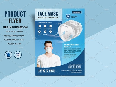Product Flyer promotional banner hand wash delivery service ms word photoshop template face mask corona virus protection convid 19 product sell sell product flyer