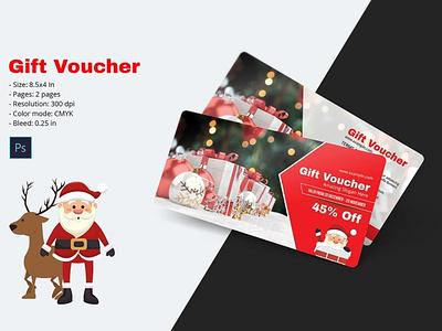 Christmas Gift Voucher Template psd photoshop template discount voucher shop cupon multipurpose voucher holiday voucher gift voucher christmas voucher christmas gift voucher