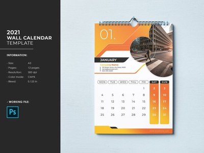Wall Calendar Template 2021 editable psd photoshop template corporate calendar business calendar monthly calendar yearly calendar calendar wall calendar 2021 wall calendar template