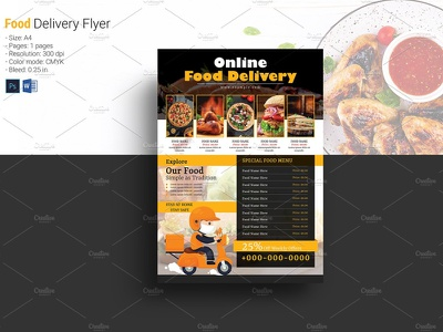 Restaurant Food Delivery Flyer ms word photoshop template delivery service pizza shop home delivery fast food delivery online order restaurant menu restaurant food food delivery food delivery flyer restaurant food devlivery