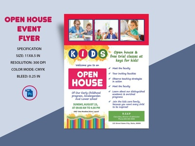 School Open House Flyer Templates open house event school promotion photoshop template admission flyer admission open house open school kids school school open house school open house flyer