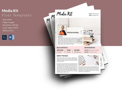 Media Kit for Bloggers ms word psd photoshop template electronic press kit blogger price list fashion blogger media press kit and rate fashion blogger media kit