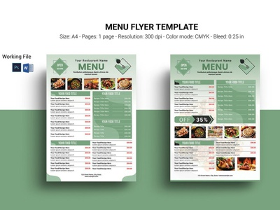 Restaurant Menu Flyer Template ms word psd photoshop template menu flyer design restaurant promotion food promotion flyer cafe flyer food menu restaurant flyer restaurant menu restaurant menu flyer
