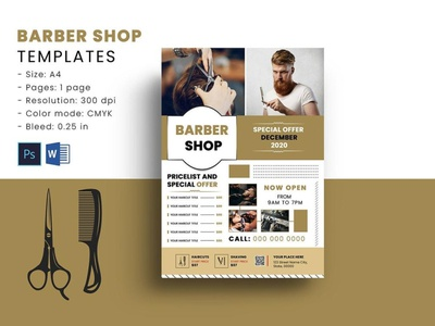 Barber Shop Flyer Template ms word psd photoshop template flyers barber price list hair cut shop barber men salon barber shop barber shop flyer