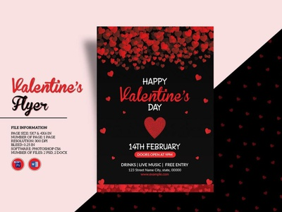 Valentines Party Flyer Template ms word psd photoshop template heart love invitation flyer valentines invitation happy valentines day valentines day valentines party valentiness party flyer