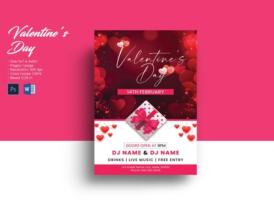 Valentine's Day Party Flyer valentines flyer ms word psd photoshop template valentine invitation invitation flyer party invitation dalentines day party