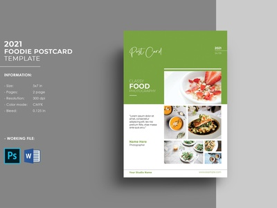 Food Postcard Flyer Template ms word photoshop template minimal foodie postcard multipurpose postcard advertising marketing template chef postcard template food postcard