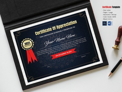 Modern Certificate ms word photoshop template award company certificate corporate certificate business certificate completion achievement appreciation certificates certificate template modern certificate