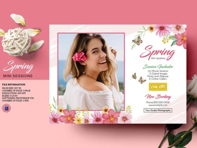 Spring Photography mini session Template editable photoshop template marketing board photography marketing photographer photography mini session spring mini session spring photography spring mini session
