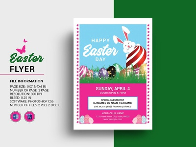 Easter Party Flyer ms word photoshop template easter egg hunt family event invitation flyer party invitation easter invitation party flyer easter party easter party flyer