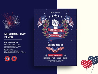 US Memorial Day Flyer ms word photoshop template invitation flyer 27th may us military memorial day flyer memorial memorial day us memorial us memorial day