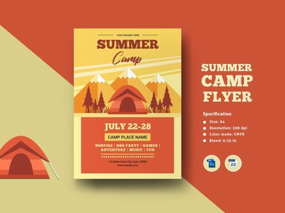 Summer Camp Flyer Template ms word photoshop template holiday party holiday music dance fire summer summer camp summer camp flyer