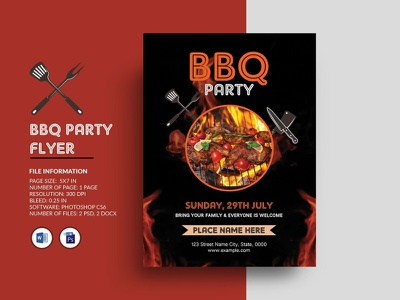 BBQ Party Flyer bbq ms word photoshop template summer music party night party party flyer invitation flyer barbecue invitation barbecue bbq party flyer