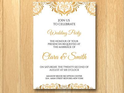 Wedding Invitation Template golden gold save the date engagement program bridal shower invitation wedding