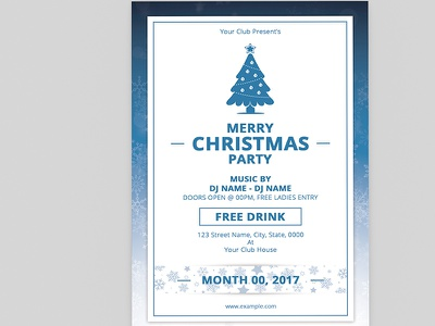 Christmas Party Flyer club card photoshop ms word template flyer party invitation holiday christmas