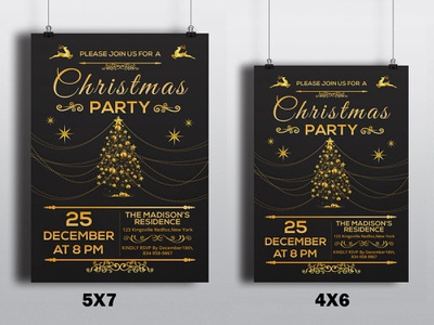 Christmas Party Flyer Template golden club black photoshop ms word template flyer party invitation holiday christmas