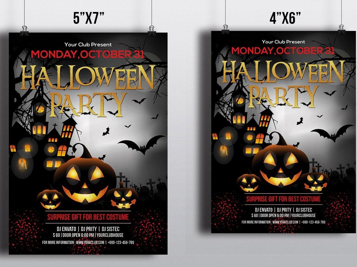 Printable Halloween Party Invitation Flyer By Mukhlasur Rahman