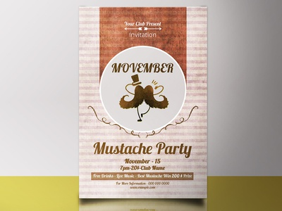 Movember Mustache Party Flyer Template template invitations flyer template night club mustache party mustache photoshop invitation party flyer movember