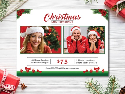 Christmas Mini Session Template christmas photo photoshop template marketing board marketing template holiday template photography template photo session card christmas template printable template holiday mini session