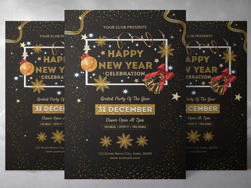 new year party invitation flyer template new year 2019 photoshop template ms word template invitation template